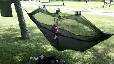 Camping Bed Hammock Outdoor Garden Travel Comfy Swing Fabric With Mosquito Net