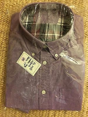Mens NEW M&S Oxford weave long sleeved shirt size 16 lavender RRP £25
