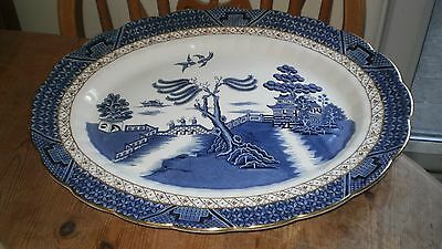 """Booths """"real Old Willow"""" Oval Turkey/meat/serving Plate - 15 1/2"""" X 12 1/2"""""""