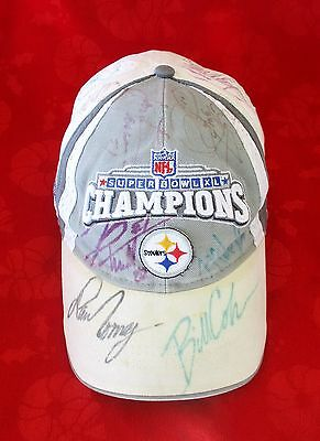 Super Bowl XL Steelers Hand Signed Hat/Cap * Bill Cowher + 16 Players