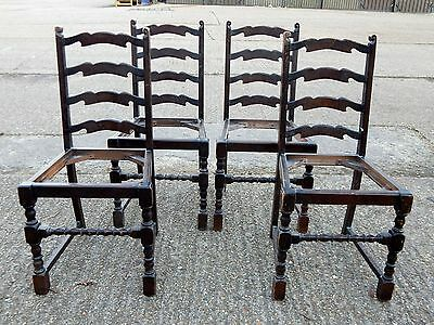 4x antique solid oak ladder back dining chairs with turned legs ready to restore