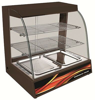Counter Top Heated Black Display Curved Glass New Hot Cabinet Food Warmer