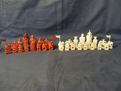 Antique Chinese Cantonese Carved Chess Set c1880
