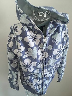 Mini Boden Age 7 - 8 Years Pretty Grey White Floral Hoodie 100% Cotton
