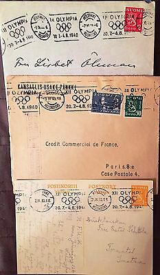 1940 Helsinki Olympic 3 x ENVELOPES / CANCELLATIONS / Finland