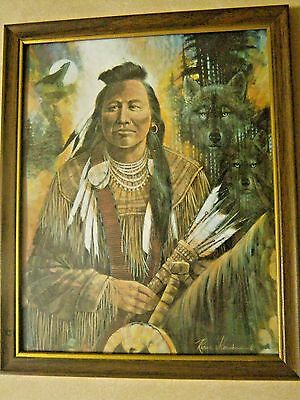 Ruane Manning 2 Native American  Indian Chief Pictures Lithographs Signed