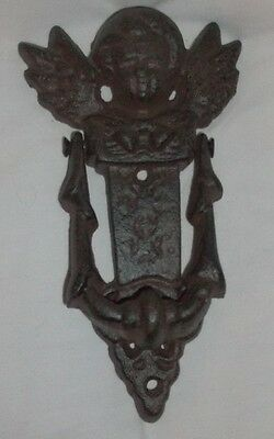 "Vintage Large Heavy Cast Iron Angel Cherub Door Knocker Detailed 8"" x 4"""