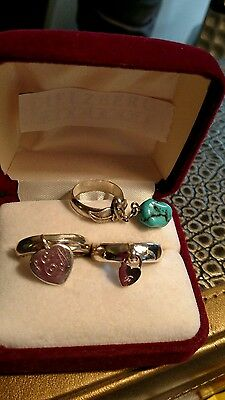 Sterling silver lot of 3 charm Rings sizes 4, 7.5