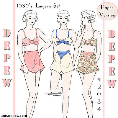 1934 Vintage Sewing Pattern Reproduction 1930's Bra and Tap Panties #2034