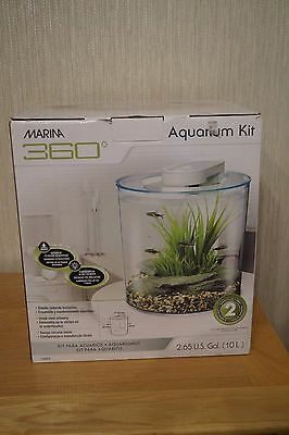 Marina 360 Fish Tank 10L Aquarium Kit with Heater and 2 Bags of Gravel