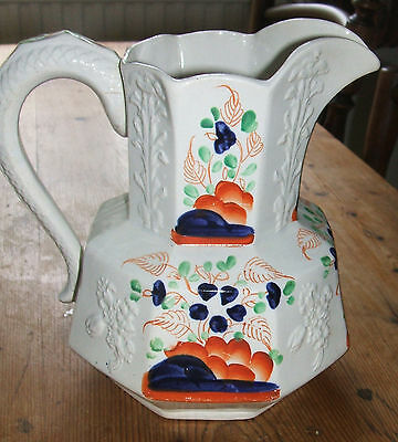 "Antique Gaudy Welsh ""Forget me Not"" Hydra jug / pitcher Serpent handle 7ins"