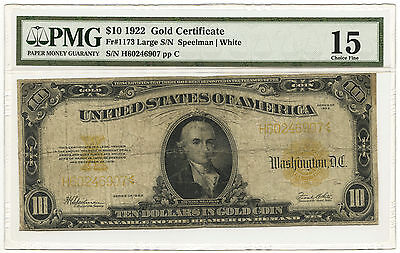 1922 $10 Gold Certificate Large Serial Numbers PMG Choice F-15 Fr #1173