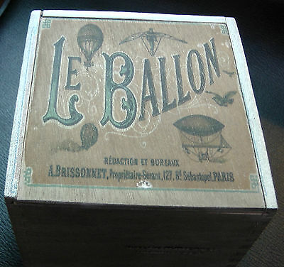FRENCH SHABBY CHIC STYLE BALLON CIGAR BOX -FOR crafts  jewelry  guitar STOMP BOX