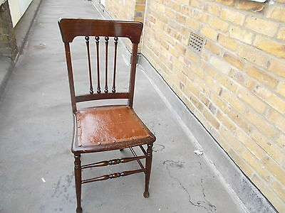 """Mahogany Spindle Back Ornate Bedroom Chair With Original Leather 36""""H 16""""W 14""""D"""