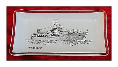 Vintage Commemorative Souvenir Pictorial Glass Trinket/Ashtray. P&O SS Canberra.