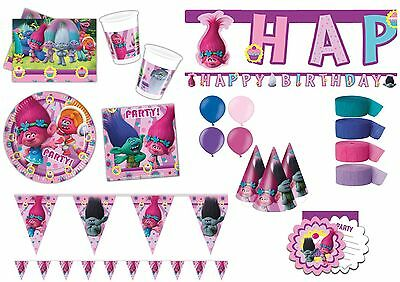 Trolls Party Decorations Tableware Plates Cups Happy Birthday Banner Balloons
