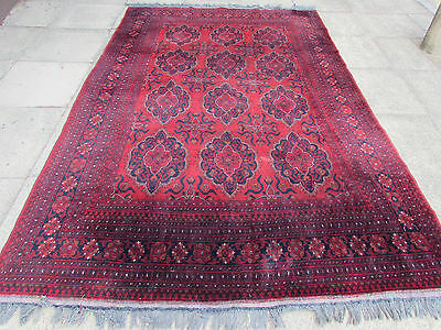 Old Traditional Hand Made Afghan Oriental Brown Red Carpet 300x200cm