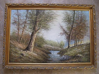 Large Oil Painting On Canvas - River Scene - N Friter ?