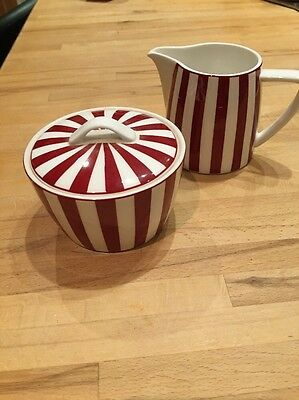 Marks and Spencer fine china Sugar Bowl With Lid And Milk Jug  'Ruby' design