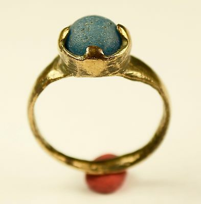 Stunning Medieval Period Ring With Blue Stone In Bezel - Wearable - No Patina