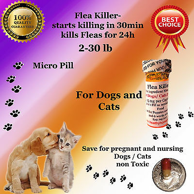 Flea Killer Dogs / Cats 2-30lb 6x micro capsules generic Capstar Sealed Control