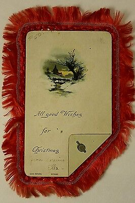 Antique 1880's Wirth Bros. Christmas Card Silk Edging Chromolithography