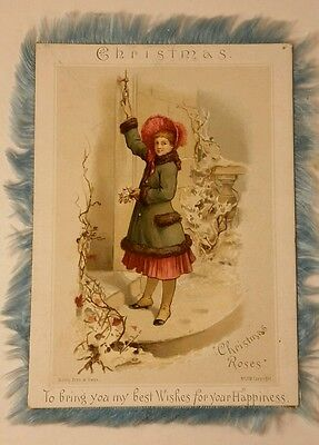 Antique 1880's Wirth Bros. & Owen Christmas Card Silk Edging Chromolithography