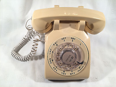 Vintage Western Electric Bell System Rotary Telephone, Tan/Beige - W/ Cords