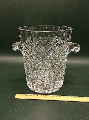 Crystal Cut Glass Ice Bucket Wine Champagne Chiller Art Glass Scroll Handles