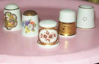 Vintage  Germany Classic Rose Thimble +4 W. Germany Thimbles  Lot Of 5 Pcs
