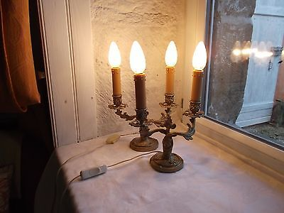 French antique - vintage a pair of table lamps patina ornately bronze