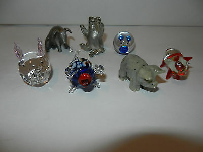 """Lot of 7 Collectible Miniature Pigs Pewter, Colored Glass Mini Pigs 1"""" - 2"""" Nice"""