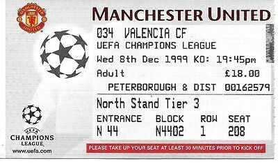 MANCHESTER UNITED v VALENCIA 1999/2000 CHAMPIONS LEAGUE TICKET