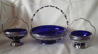 Used Blue Glass & Silver Metal Serving Dishes