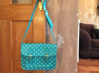 Girls Turquoise and White Spotty Satchel