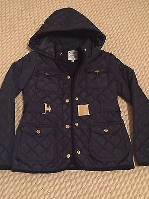 Girls M&S Padded Navy Coat With Good & Belt Immaculate Age 9-10 Years