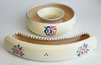 Vintage Poole Pottery Hand Painted Floral Posy Ring & Posy Bar