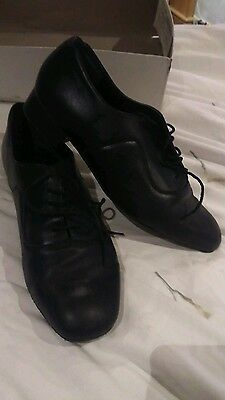 Equity dance shoes, size 8 G+, black soft leather with suede soles