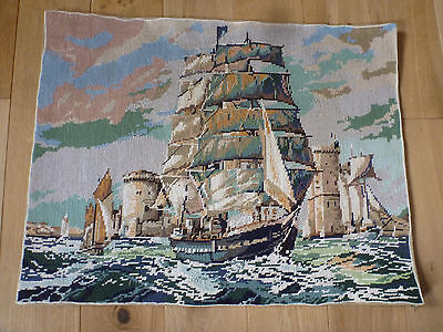 """French Completed Wool Tapestry Par Vents et Marees Sea Boats Galleon 25 x 19 """""""
