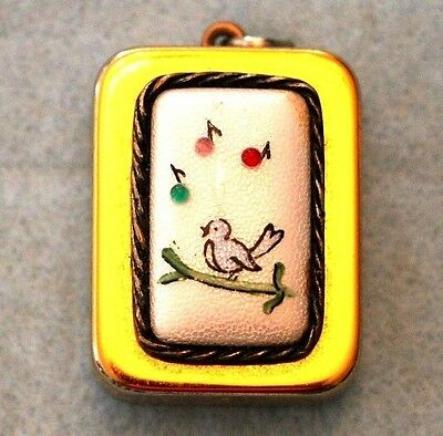 Mid-Century - Hand Painted Bird - Music Box Charm For Bracelet Or Pendant- Works