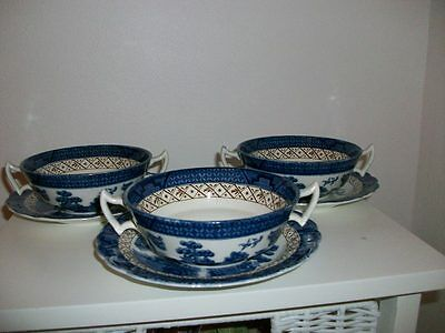 Vintage Booths Real Old Willow - 3 Soup Coupes & Saucers.