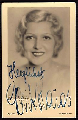 Postcard GRIT HAID  Autograph Actor ACTRESS Artist Signed COLLECTION  RARE