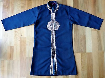 Traditional Asian Tunic CHEMS FORD Dark Blue Paisley Embroidery Size 8