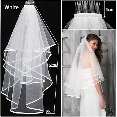 White or Ivory 2T Wedding Bridal Veil Satin Edge With Comb Elbow Prom Bride UK