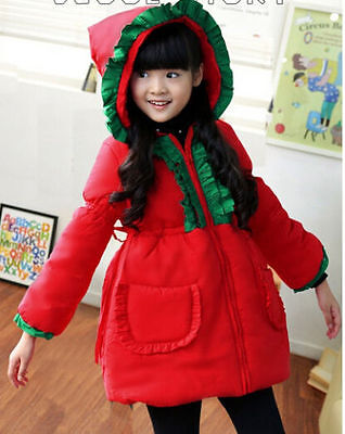 Girls kids Toddlers Winter Christmas Cotton pointy hat Hooded coat  3-5 Years