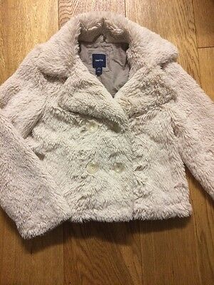 GAP Kids Cream Faux Fur Coat, Age 8-9. Cropped. Perfect For Parties