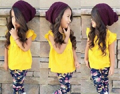 Girls Summer Casual 2PC Outfit Yellow Top with Floral Blue Leggings Sizes 2-6yrs