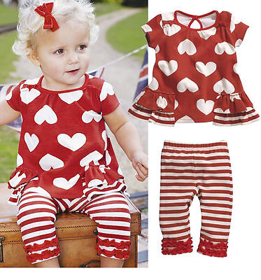 Girls Kids Top+Pants 2 PCS Outfit Set Toddler Costumes Striped 0-3Y Outwear Suit
