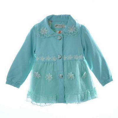 Girls Cute Wind breaker Coat with Lace Detail In Pink or Blue Age 1-5yrs