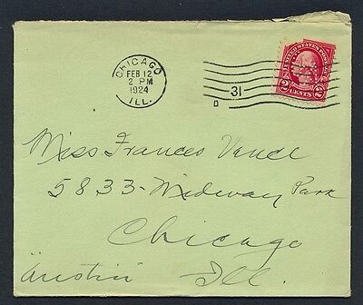 UNITED STATES OF AMERICA 1924 OLD COVER Addressed USA #a152 CHICAGO cds! PERFIN